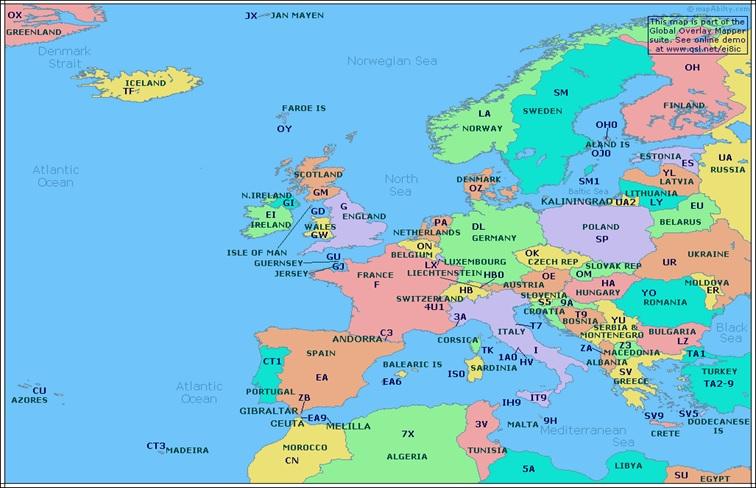 HAM - Prefixy - Evropa