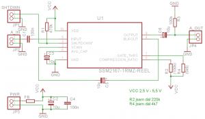 Schéma mikrofonního kompresoru