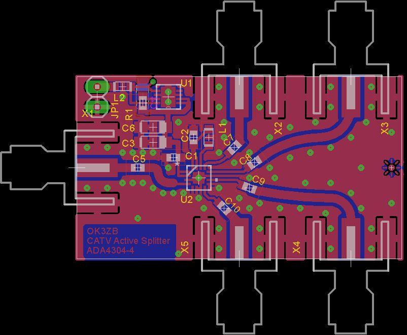 Aktivní anténní 4-cestný rozbočovač pro DVB-T/CATV s ADA4304-4 - PCB