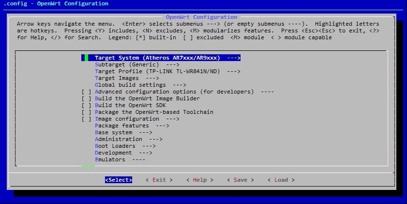 Sestavení operačního systému OpenWRT se specifickými